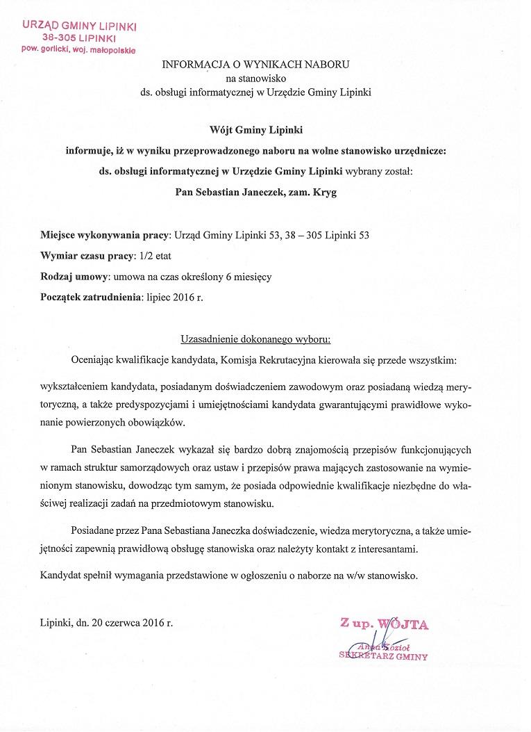 93c3e6e16f85d3 2016 | BIP Urząd Gminy Lipinki | Biuletyn Informacji Publicznej
